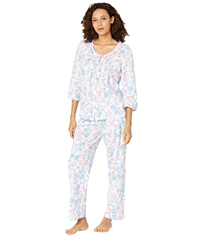 Carole Hochman Soft Jersey 3/4 Sleeve Long Pajama Set (Blue/Pink Floral) Women