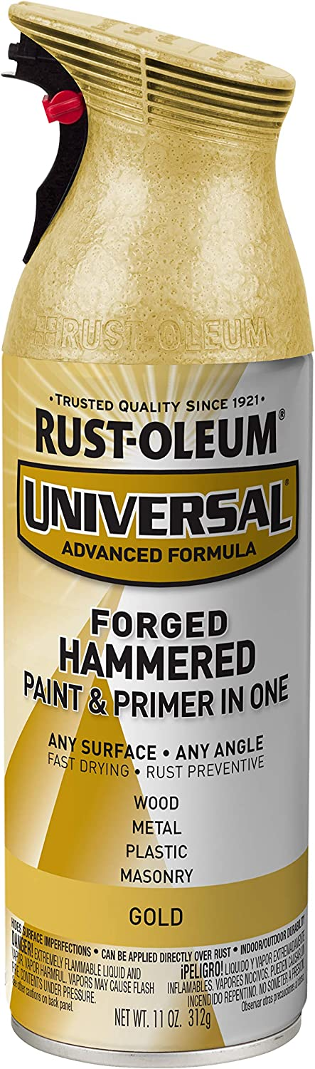 Rust-Oleum 342917 Universal Forged Hammered Spray Paint, 12 oz, Gold