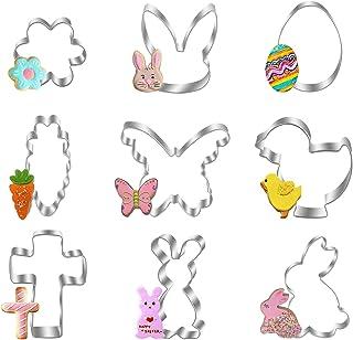 Diealles Shine Cortadores de Galletas Set de Pascua, 9 Pieza Moldes para Galletas, Acero Inoxidable Cortapastas para Repos...