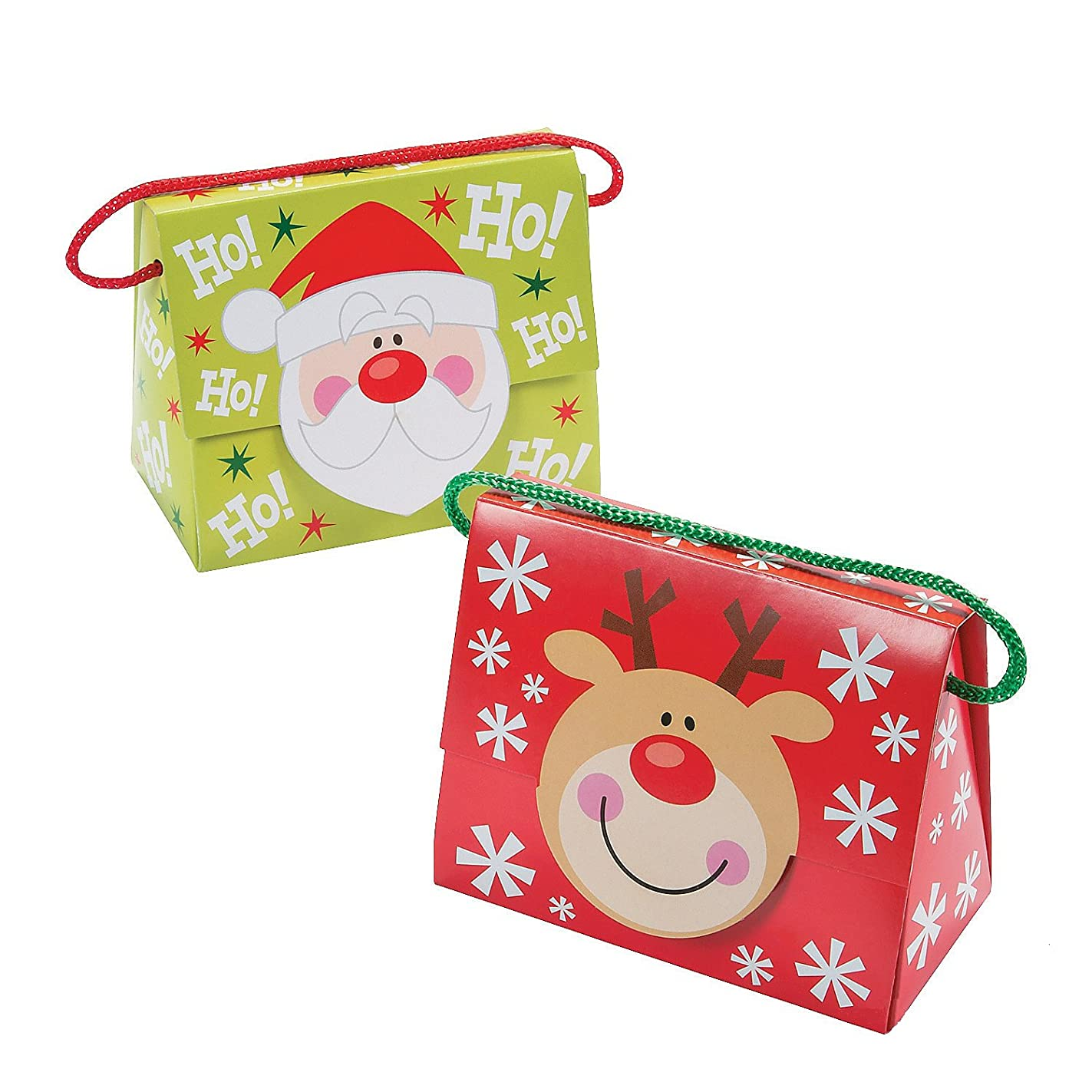 Fun Express Christmas Tent Boxes with Handle, 5 X 2 3/4 X 4 1/4-Inch with 4-Inch Handles (Pack of 12) yhi70530337