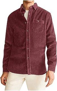 Camisas de Hombre Camisa de Bolsillo de Manga Larga Suelta con Botones Casuales de Pana de Color sólido Nuevo para Hombre