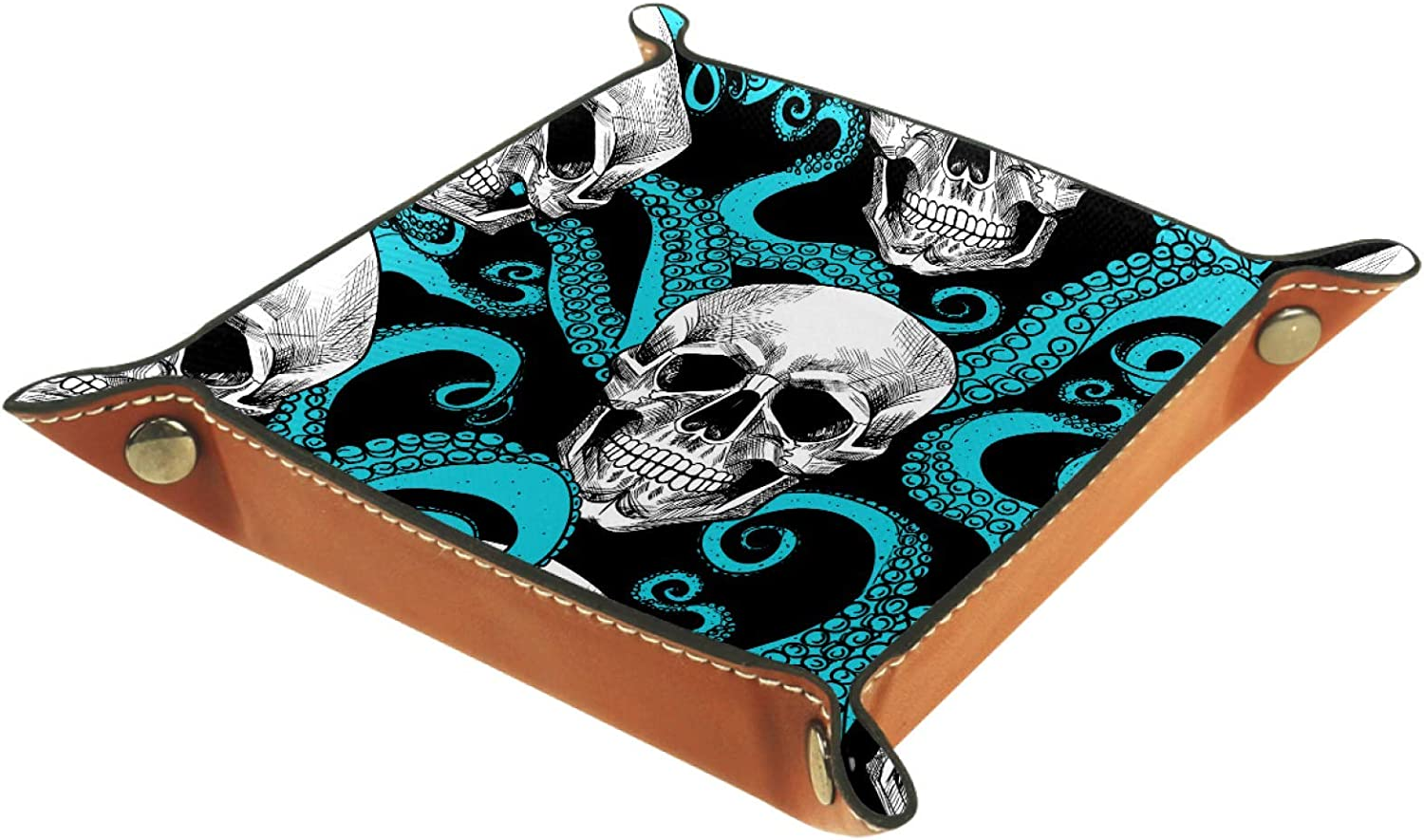 key ZORE/_FINE5 Folding Rolling Dice Games Tray Leather Square Jewelry Trays /& Watch coin candy Storage Box 11.5 cm//4.5 in Skull Blue Octopus Pattern