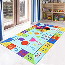 LIVEBOX Play Mat, Faux Wool Kids Play Area Rugs 3' x 5' Non-Slip Childrens Carpet ABC Number and Color Educational Learning & Gamefor Living Room Bedroom Playroom Nursery2019 Best Shower Gift