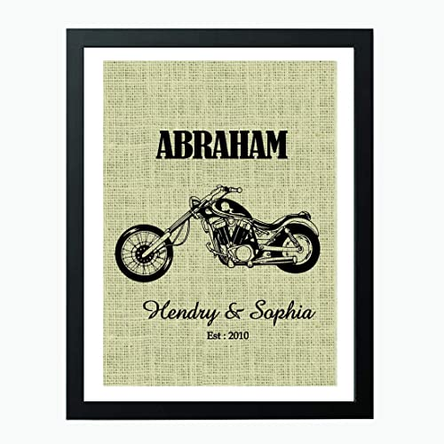 Motorcycle Lovers Gift Valentines Day Personalized Print Harley Davidson Decor