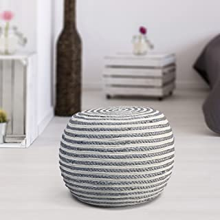 grey and white striped ottoman