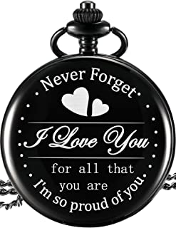 Hicarer Engraved Pocket Watch for Dad Daughter Son Husband, Gift for Birthday Christmas Holiday - Never Forget I Love You (I Am so Proud of You, White Dial)