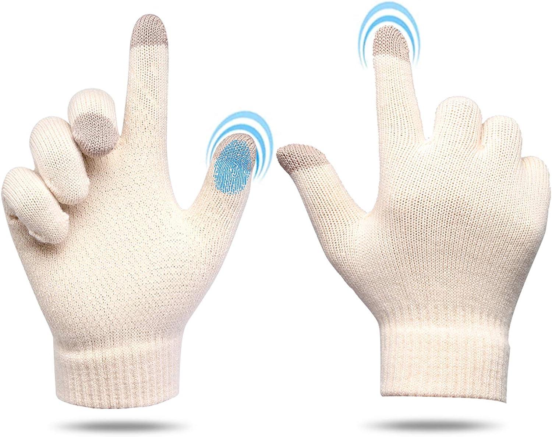 Winter Gloves for Men Women Touchscreen Gloves Anti-Slip Warm Gloves Soft Lining Knit Gloves for Phone Running