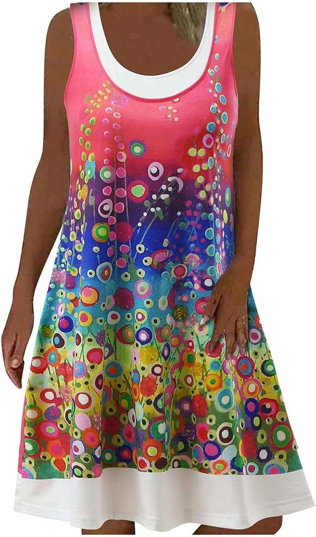 PAPIYON Women U-Neck Summer Dress Fashion Printed Sleeveless Pull On Loose Comfy Leisure Daily Beach Mini Dress Pink