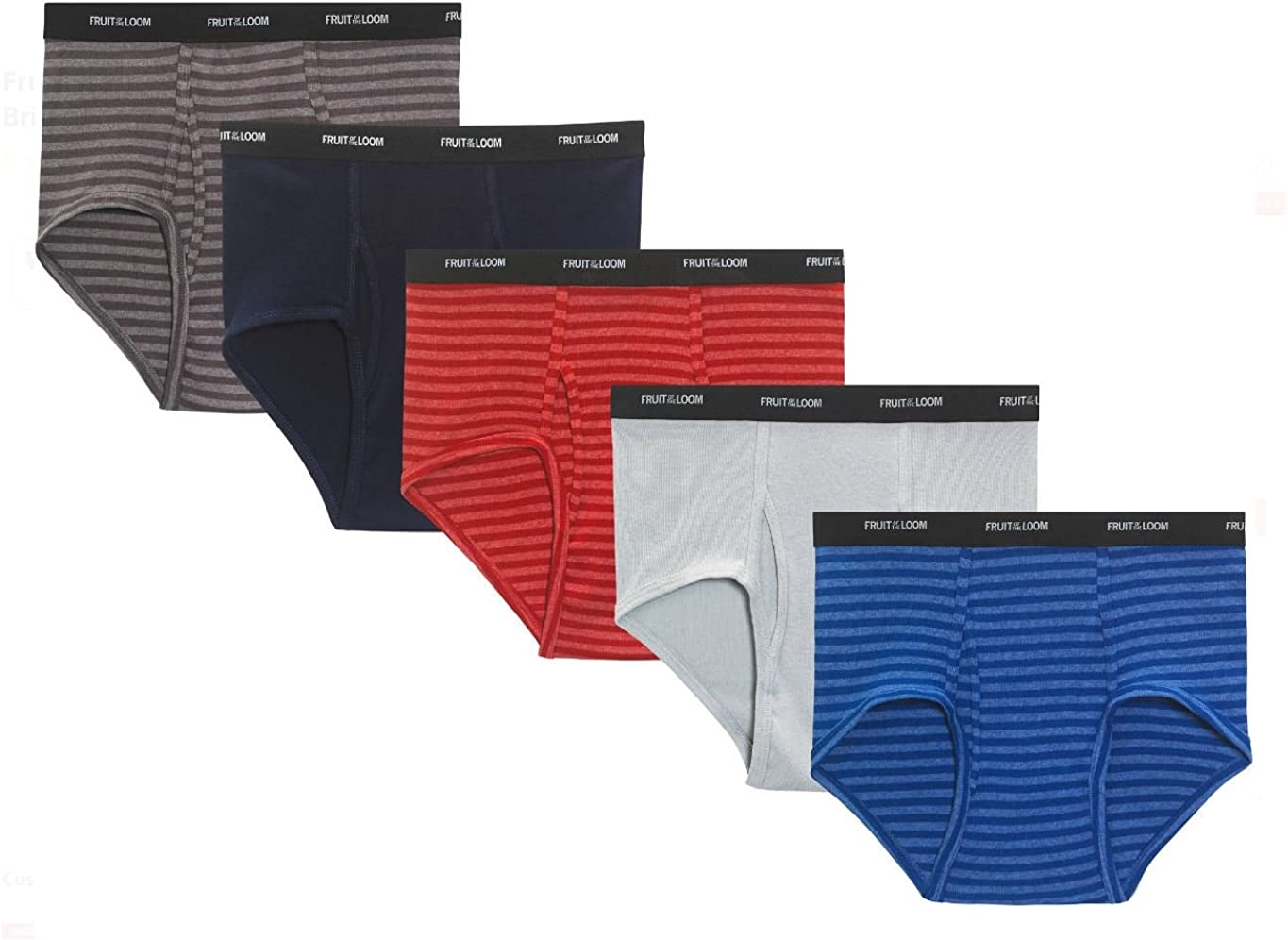 Fruit of the Loom Men's Stripe Solid Fashion Brief(Pack of 6)