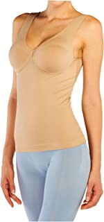 Fay Fay Women's Underwire Bra Tank Top Cami Shapewear Bodysuit Black Nude M