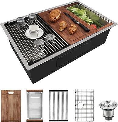 CELAENO 32-inch Undermount Kitchen Sink,Single Bowl Stainless Steel Kitchen Sink 18 Gauge,Workstation R0 Radius Handmade All in One Kitchen Sink with Ledge