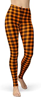 sissycos Women's Checkered Plaid Printed Leggings Stretchy Brushed Buttery Soft Tights