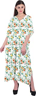 RADANYA Women Floral Caftan Tunic Tank Summer Beach Dress Swim Cover Up Dress