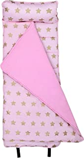 Wildkin Original Nap Mat with Pillow for Toddler Boys and Girls, Ideal for Daycare and Preschool, Measures 50 x 1.5 x 20 Inches, Mom's Choice Award Winner, BPA-Free (Pink and Gold Stars)
