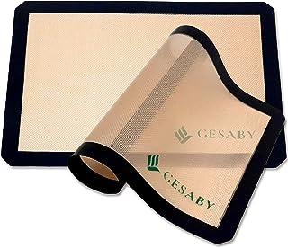 Tapis de cuisson en silicone 42 x 29.5 cm (lot de 2), Feuille de pâtisserie antiadhésive réutilisable, Plaque de patisseri...