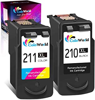 ColoWorld Remanufactured 210XL Ink Cartridge Combo Pack Replacement for Canon PG-210 XL 210XL CL-211 XL 211XL (1 Black + 1...