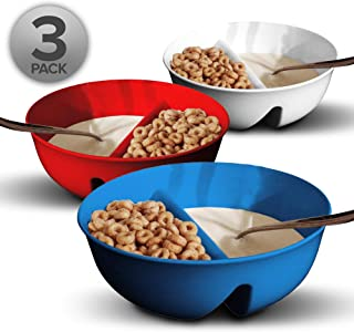 3 Pack - Just Crunch Anti-Soggy Cereal Bowl - Keeps Cereal Fresh & Crunchy   BPA Free   Microwave Safe   Ice Cream & Toppi...