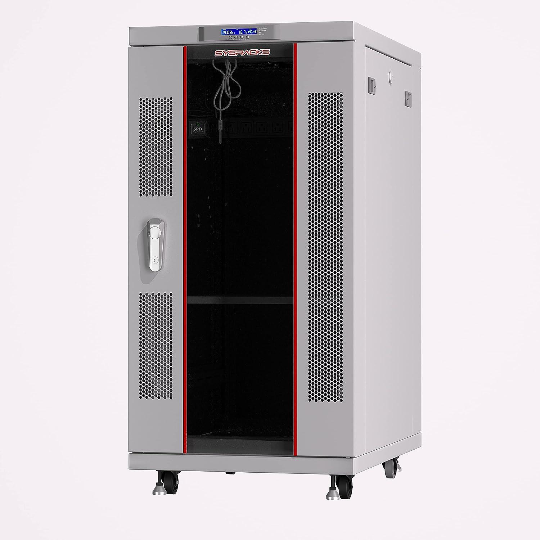Server Rack - Locking Cabinet - Network Rack - Av Cabinet - 27U - Rack Mount - Free Standing Network Rack- Server Cabinet - Caster Leveler - Rack Shelf - Cooling Fan - Thermostat - PDU - Light Grey