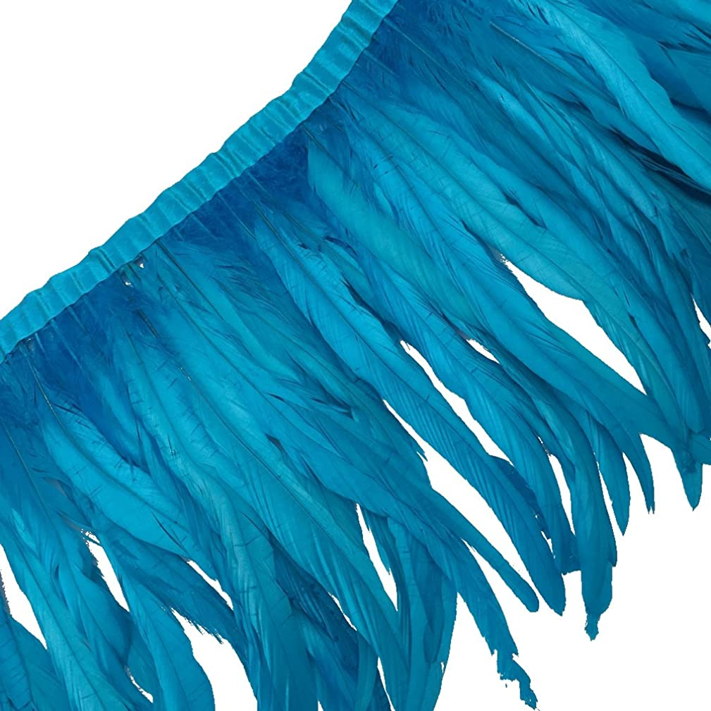 Sowder Rooster Hackle Feather Fringe Trim 10-12inch in Width Pack of 1 Yard(Turquoise)