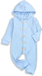 Newborn Baby Hoodie Romper Knitted Cotton Hooded Jumpsuits Bodysuits Infant Outfit Buttons Clothes