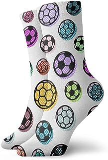 Elsaone, patrón con coloridos calcetines de balones de fútbol tripulación para hombres mujeres niños trekking rendimiento al aire libre 30 cm / 11.8 pulgadas