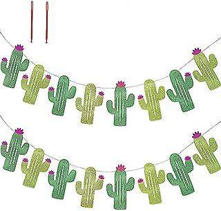 16 Pcs/15.6' (2 Pack) Fiesta Bachelorette Graduation Party Cactus Banner Garland Backgound String Cactus Glitter Green for Kids Birthday Summer Tropical Wedding Taco Cinco De Mayo Party Decor Favor