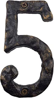 6 Inch House Numbers, Cast Iron Home Address Number, Featuring Solid/Heavy Duty & Sturdy, Uneven Bronze-Colored (Number 5)