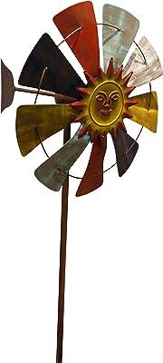 Benzara Iron Windmill Garden Stake, Multicolor