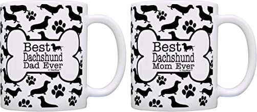 Best Dachshund Doxen Mom Dad Ever Bundle Paws Dogs 2 Pack Gift Coffee Mugs Tea Cups Bone Pattern