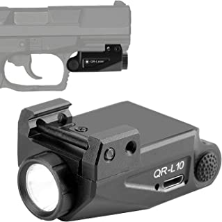 QR-Laser Tactical Gun Light Flashlight Picatinny Rail Mount Light for Pistols Handguns Subcompact USB Rechargeable Upgrade...