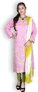 PINK & GREEN COTTON CHIKANKARI 2PC SUIT