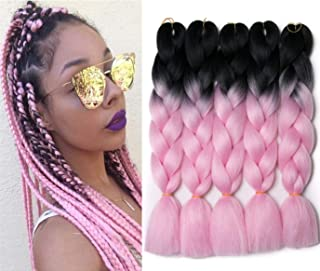 24 inch 5pcs/lot Ombre Braiding Hair Synthetic Braiding Hair Two Tone Ombre Jumbo Braids Hair Extensions Black-Pink