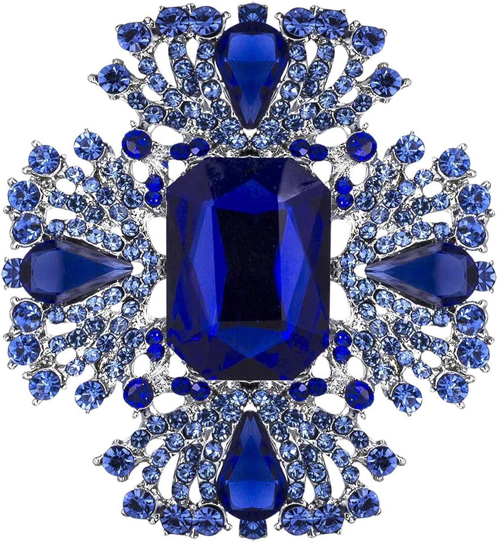 YOQUCOL Vintage Blue Austrian Crystal Rhinestone Brooch Pin Elegant Jewelry For Women Girls