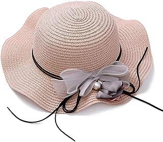 ZOO 花の装飾色青でクールな夏の帽子の女性のビーチホリデー麦わら帽子 (色 : ピンク)