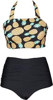Seaselfie Women's Pineapple Print Halter Bikini High Waisted High Cut Swimsuit