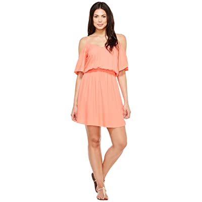 Splendid Rayon Crosshatch Cold Shoulder Dress (Tropical Peach) Women