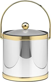 Kraftware Polished Chrome and Brass Ice Bucket with Bale Handle and Lucite Cover - 3 Quart
