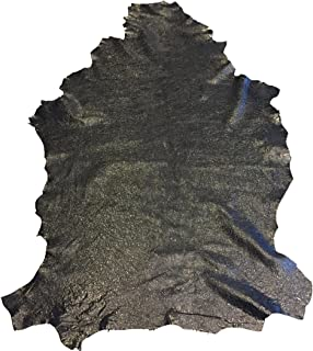Black Patent Leather Hide – Craft DIY Fabric - Spanish Full Skins - 7 sq ft - 2 oz avg Thickness - Cracked Finish –Real Soft Lambskin – Thin Upholstery Home Décor Material – Leather Treasure Shop