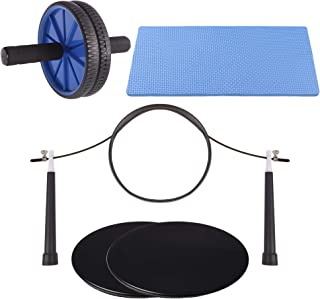 NATURAL CHEMISTREE Ab Roller, Core Sliders, and Speed Jump Rope (3-Piece Set) Workout and Exercise Bundle | Build Strength and Lean Muscle, Burn Fat | Home Gym Training Equipment