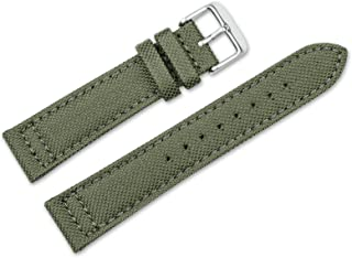 20mm Replacement Watch Band - Nylon Canvas w/Leather Lining - Olive Watch Strap
