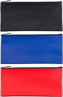 LUNASMILE 3 Pack Leatherette Securit Bank Deposit Bag, Check Wallet,Utility Zipper Coin Bag, Cash Bag, Check Bag,11 x 6 Inches with Upgraded Zipper
