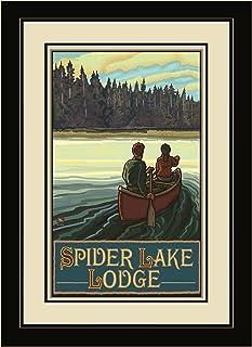 "Northwest Art Mall LCKF Spider Lake Lodge Wisconsin Lake Canoe Fire Framed Wall Art, 13"" by 16"""