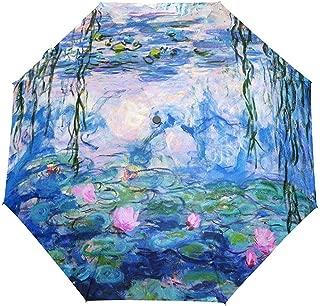 Monet Claude Ninfee Pittura a olio Ombrello da viaggio Auto Apri Chiudi Antivento Ombrello pieghevole impermeabile Baldacchino compatto Facile da trasportare