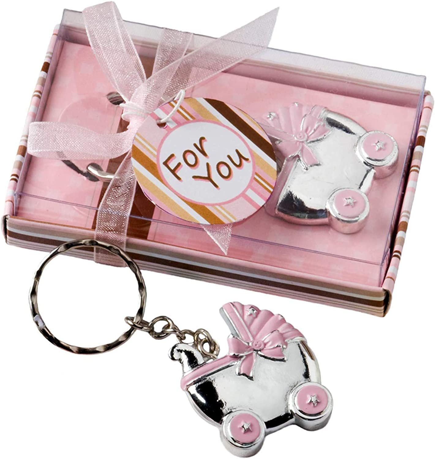 Baby Carriage Design Key Chains, Baby Shower Party Favors, Pink, Set of 40