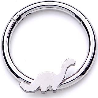 Unisex 16G Steel Hinged Segment Ring Seamless Cartilage Septum Ring Dinosaur Nose Hoops 3/8