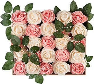 Meiliy 40pcs Artificial Flowers Peony Cream+Blush Pink Rose Heads Real Looking Foam Peonies Bulk w/Stem for DIY Wedding Bouquets Boutonnieres Corsages Centerpieces Wreath Supplies Cake Decorations …