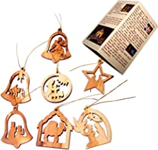 Holy Land Market Olive Wood Complete 7-Piece Christmas Ornament Set. Nativity Story