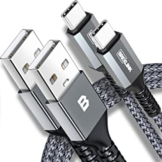 BrexLink USB Certified Type C Cable, USB C to USB A Charger (6.6ft, 2 Pack), Nylon Braided Fast Charging Cord for Samsung ...