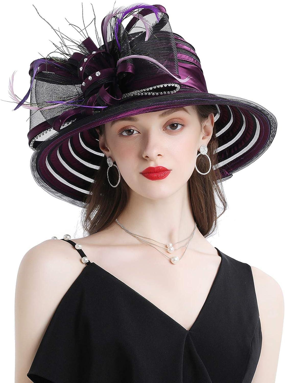 Z&X Women Organza Kentucky Derby Church Dress Cloche Hat Bowknot Wedding Tea Party Bucket Bowler Sun Hat