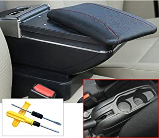 MyGone for 2012-2016 Citroen c-Elysee/PG 301 Car Interior Accessories Center Console Armrest Box,Large Storage Space,Provide arm Rest Place,Removable Ashtray, with Cup Holder,Black(a Free Tool)
